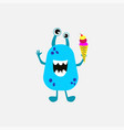 purple monster with birthday ice cream on white vector image vector image