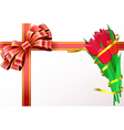 Red tulips with yellow ribbon and red bow are on vector image