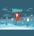 santa claus carry big christmas tree vector image vector image