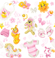 Seamless pattern of pink clothing toy and stuff vector image vector image