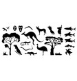 set of australian animals and birds silhouettes vector image vector image