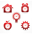 set of clock in different shapes vector image vector image