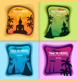 set of thailand banners time to travel paper cut vector image vector image