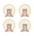 set teddy bear with label and decoration vector image vector image