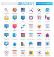 set trendy flat gradient modern network vector image