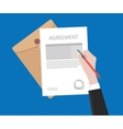 sign agreement contract on paper document with vector image vector image