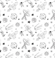 Space doodles icons seamless pattern Hand drawn vector image vector image