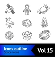 space icons outline set vector image vector image