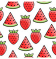 strawberry watermelon seamless pattern vector image