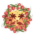 summer flamingo flower beach element good f vector image