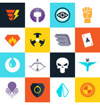 superhero badges with super weapons vector image vector image