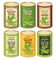 tin cans with various labels for canned green pea vector image