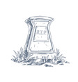 tombstone with rip inscription rest in peace vector image vector image