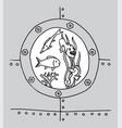 underwater world in the bathyscaphe illuminator vector image