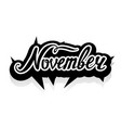 word november lettering vector image