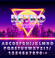 retro font vintage on the neon city background vector image