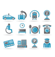 airport and transportation icons 2 vector image