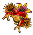 animal red frog with flower vector image vector image