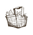 Basket with fruits draw vector image