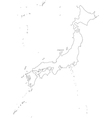 Black White Japan Outline Map vector image