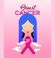breast cancer awareness design of girl with ribbon vector image vector image