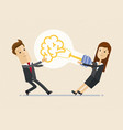 businessman and woman pull a big lightbulb brain vector image vector image