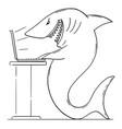 cartoon monster shark or internet predator vector image