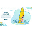 caucasian woman in swimsuit wind surfing vector image