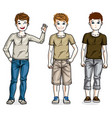 child young teen boys group standing wearing vector image