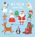 christmas characters cute cartoon santa vector image