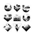 collection monochrome geometric tropical logo vector image