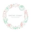 Colored Christmas holidays circle frame with vector image vector image
