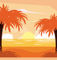 colorful background of beach sunset landscape vector image vector image