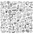 Cookery natural food - doodles collection vector image