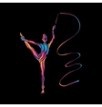 Creative silhouette of gymnastic girl Art vector image vector image