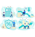 credit concept with financial and business scenes vector image