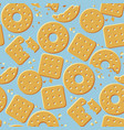 crunchy crackers cartoon seamless pattern vector image