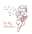 cupid playing music on hurp to flying hearts fun vector image vector image