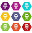 director chair icons set 9 vector image vector image