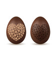 easter egg 3d chocolate brown eggs set flower vector image