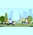 family in park city park activity season walk vector image