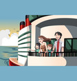 family on a cruise trip vector image vector image