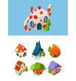 fantasy isometric buildings fairytale vector image vector image