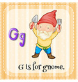 Flashcard letter G is for gnome vector image