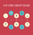 flat icons female razor bristle and other vector image