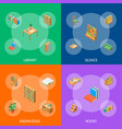 furniture for library 3d banner set isometric view vector image vector image