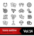 Game Outline Icons Set vector image