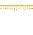 Golden snowflake border with hanging vector image vector image