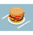 Hamburger isometrics 3D Fast food on plate Cutlery vector image