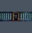horror poster with zombie hands in dark doorway vector image